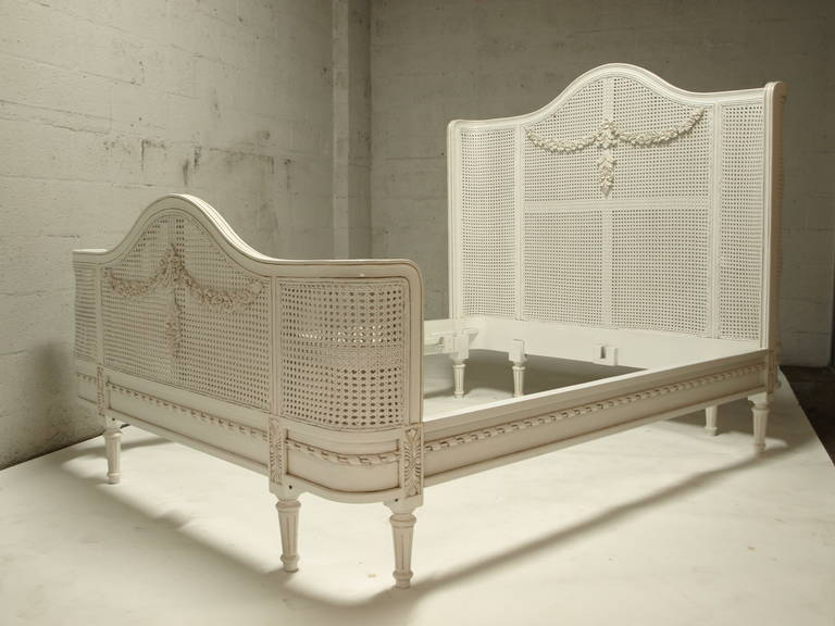 French Bed In Louis XV Style White Cane Queen Size For