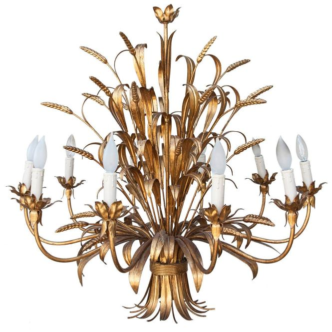 Grand Ten Arm Mid Century French Gilt Tole Sheaves Of Wheat Chandelier For