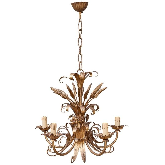 French Gilt Tole Sheaf Of Wheat Chandelier 1