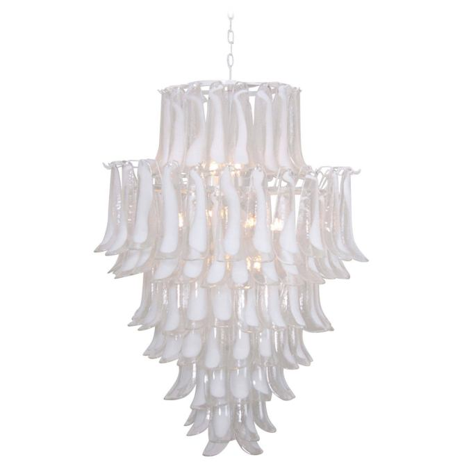 Extra Large Oversized Murano Glass Tulipani Or Feather Chandelier By Mazzega For