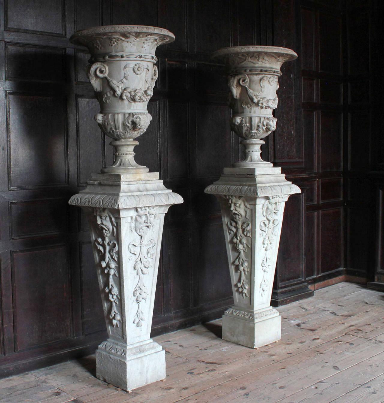 Carved Urns On Pedestals At 1stdibs