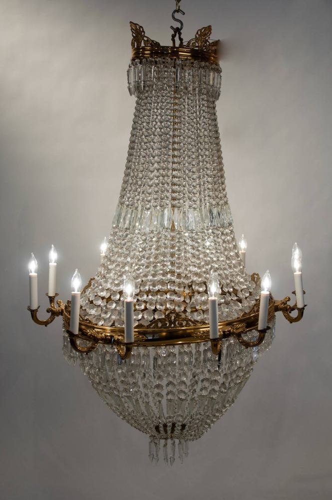 Antique French Bell Shape Cut Crystal With Brass Framed Chandelier 3