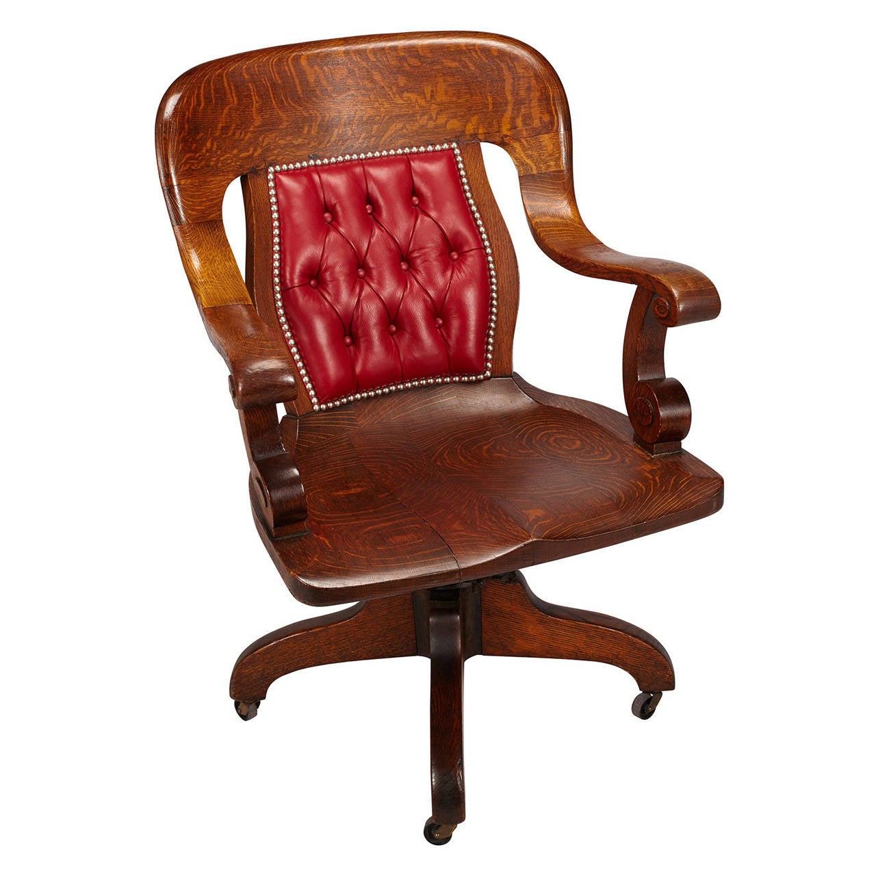 Oak Swivel Banker S Chair