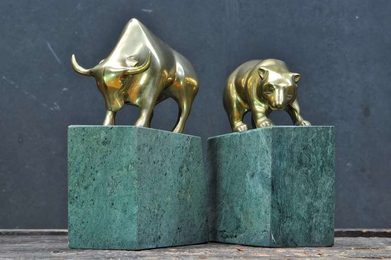 1970s Bull And Bear Stock Broker Brass Marble Bookend