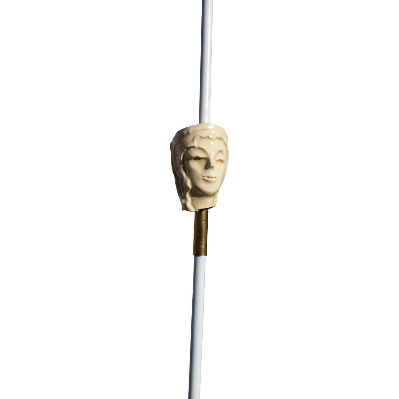 Fabulous Ceramic Head Floor Lamp Attributed To Royere
