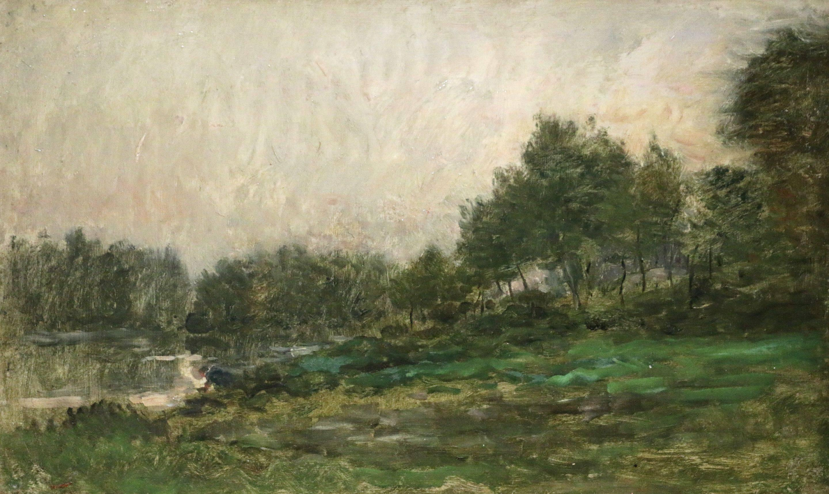 Charles Franois Daubigny Lavandiere By River Painting