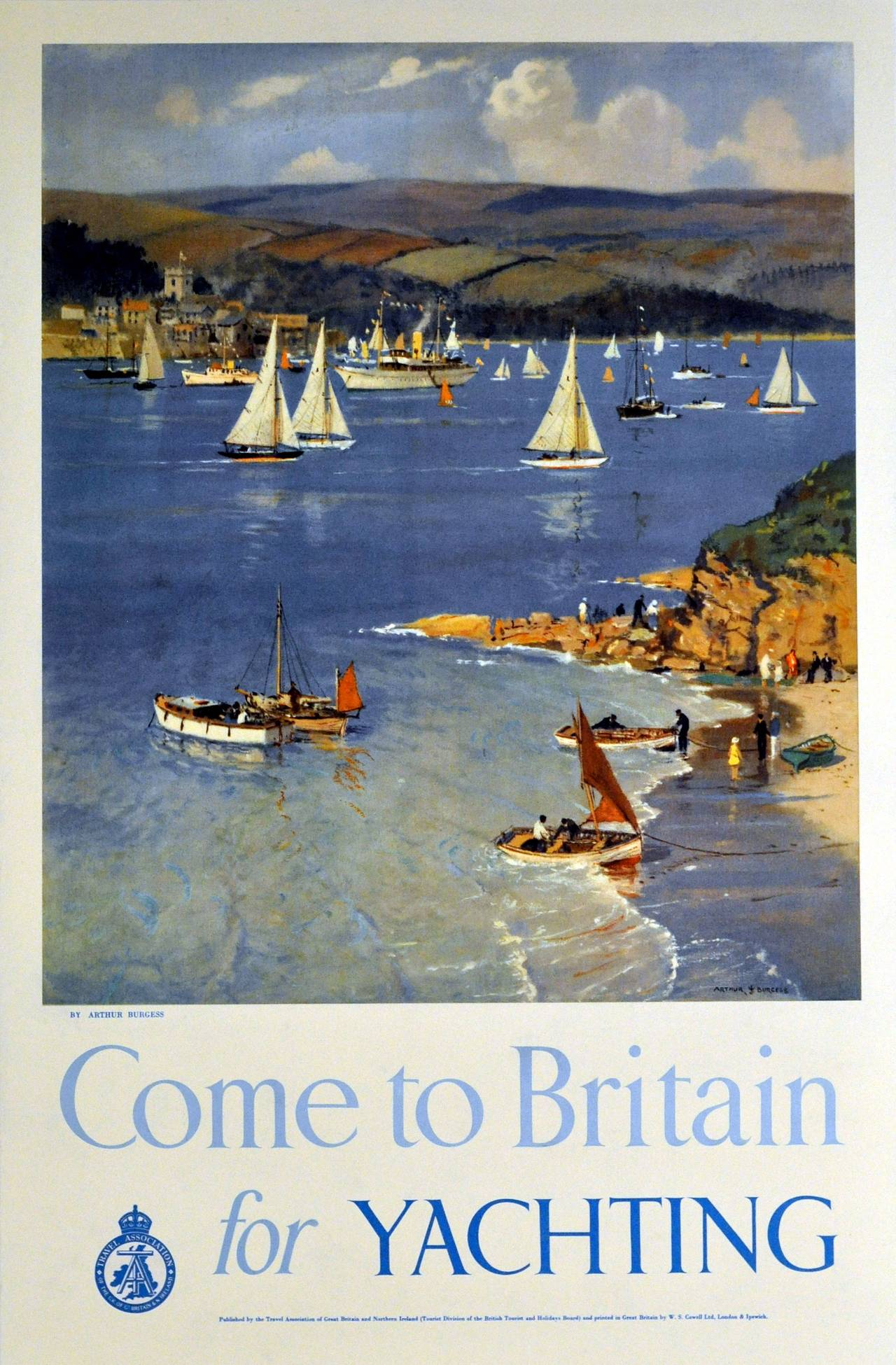 Arthur Burgess Original Vintage Sailing Poster Come To