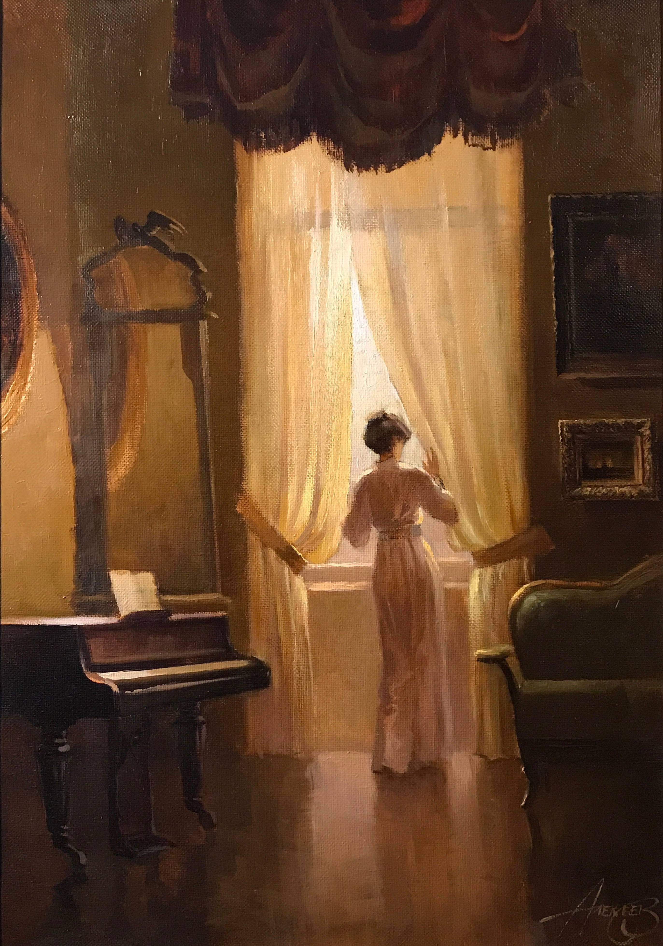 Unknown - Signed Russian Oil Painting Lady in Music ... on Room Painting id=66818