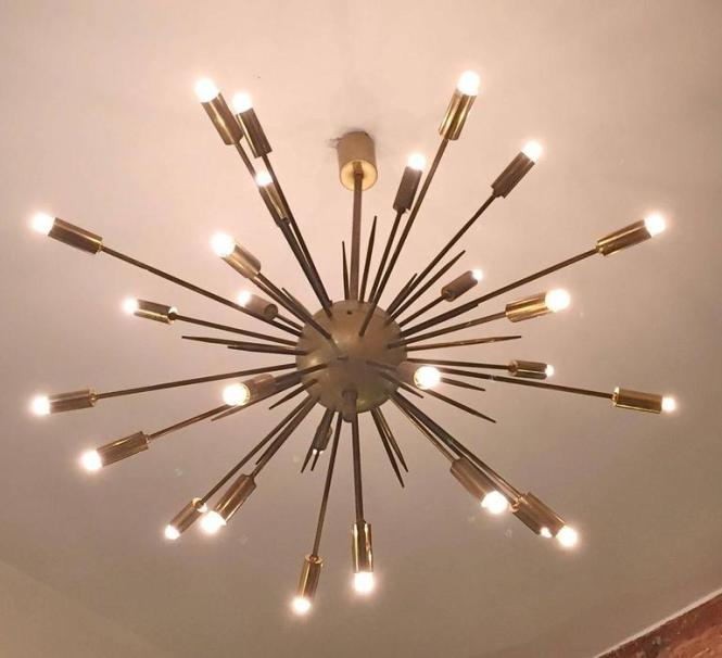 Mid Century Modern Original Stilnovo Sputnik Chandelier For