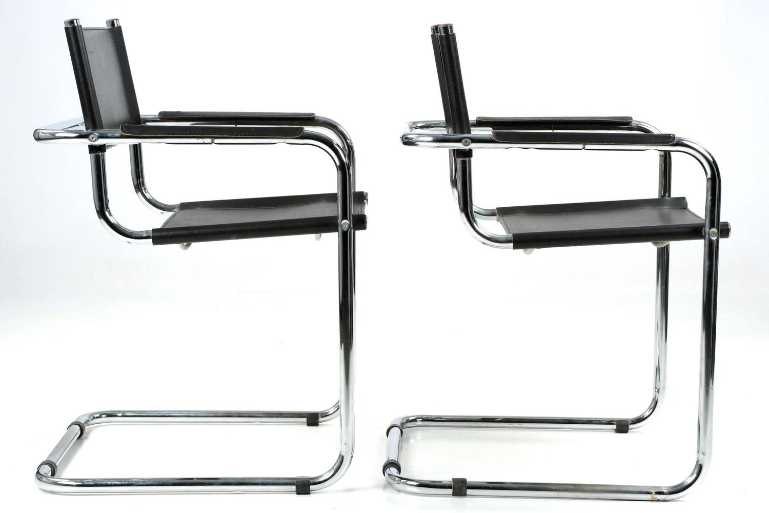 Pair Of Mid Century Modern Chrome And Leather Cantilever