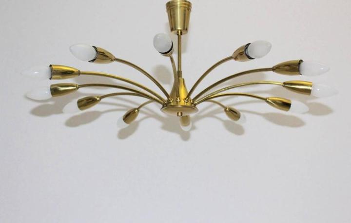 Kalmar Curved Brass Spider Ceiling Lamp  1950s  Vienna For Sale at     Mid Century Modern Kalmar Curved Brass Spider Ceiling Lamp  1950s  Vienna  For Sale