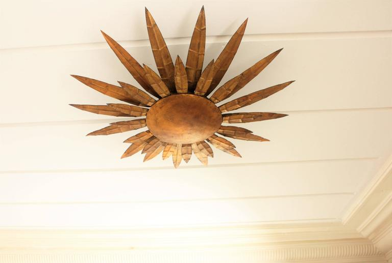 French 1950s Gilt Iron Sunburst Wall Sconce Or Wall