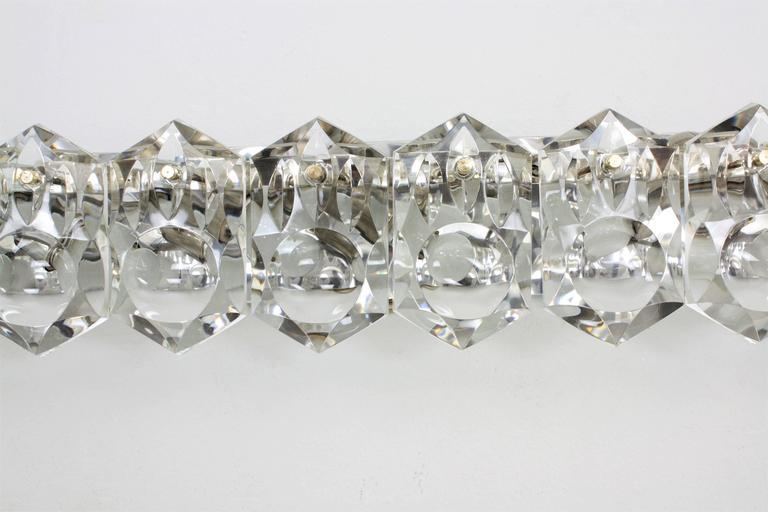 Kinkeldey Faceted Crystal and Chrome Ten-Light Wall Sconce ... on Crystal Bathroom Sconces id=50093