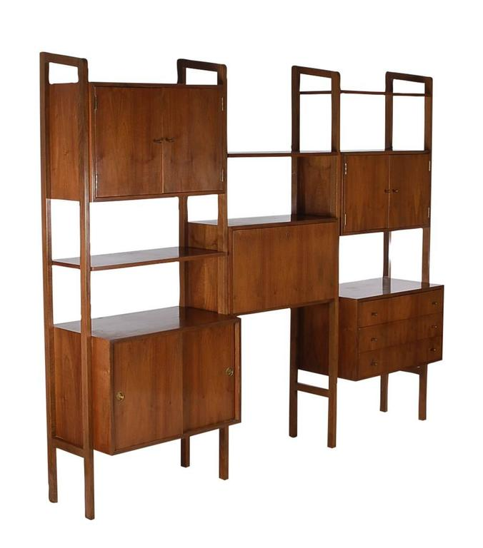 Mid Century Danish Modern Shelving Wall UnitDesk In