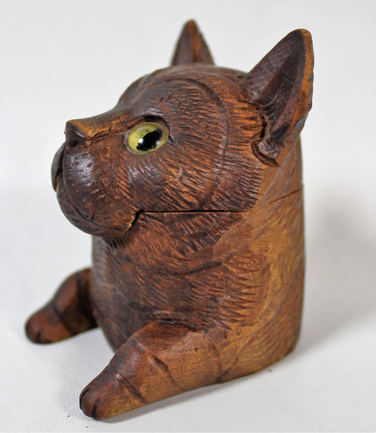 Black Forest Carved Cat Inkwell At 1stdibs