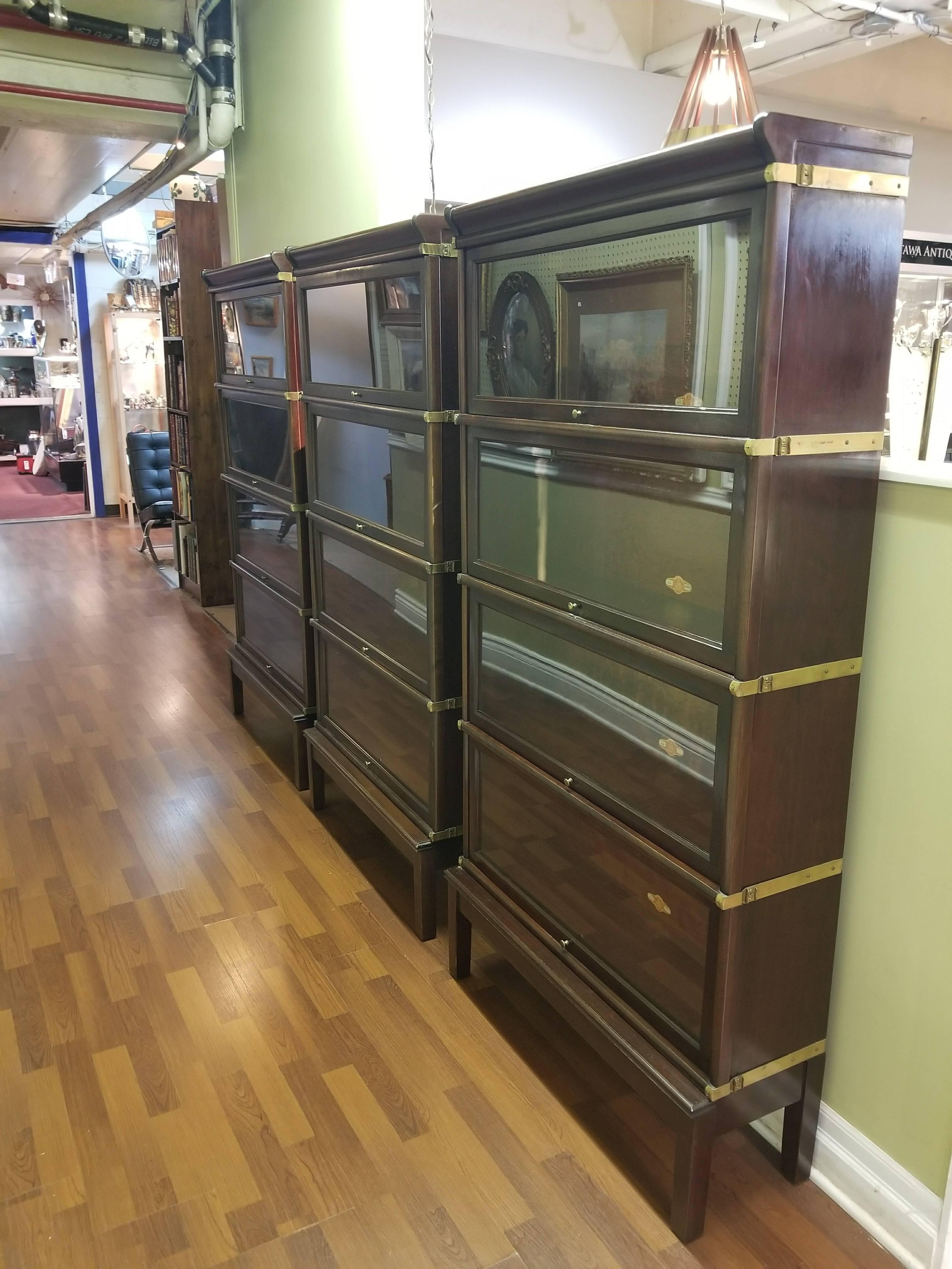 Set Of Three Barristers Bookcases In Solid Mahogany And