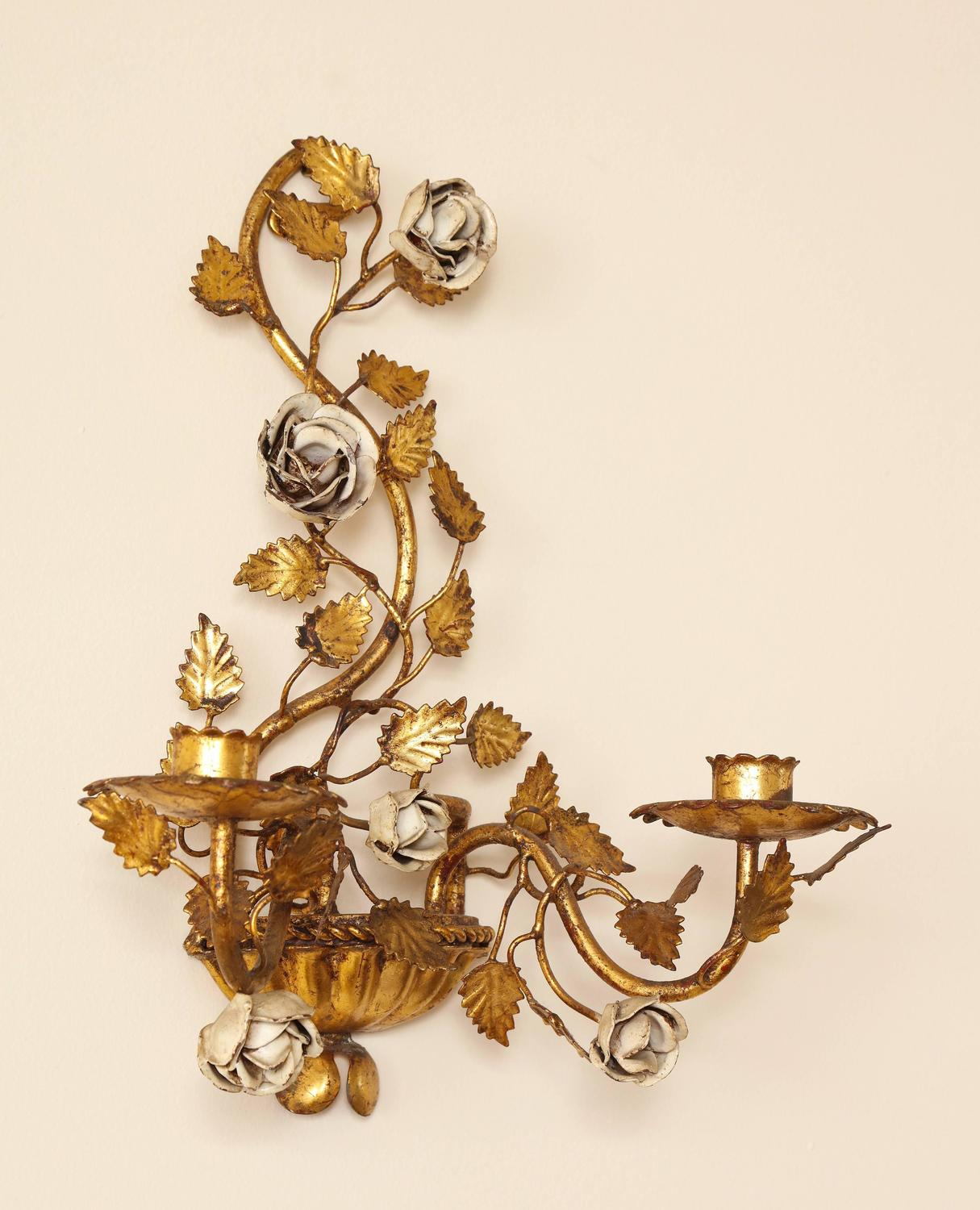 Pair of Italian Painted Floral and Gilt Metal Wall Sconces ... on Candle Wall Sconces With Flowers id=99811