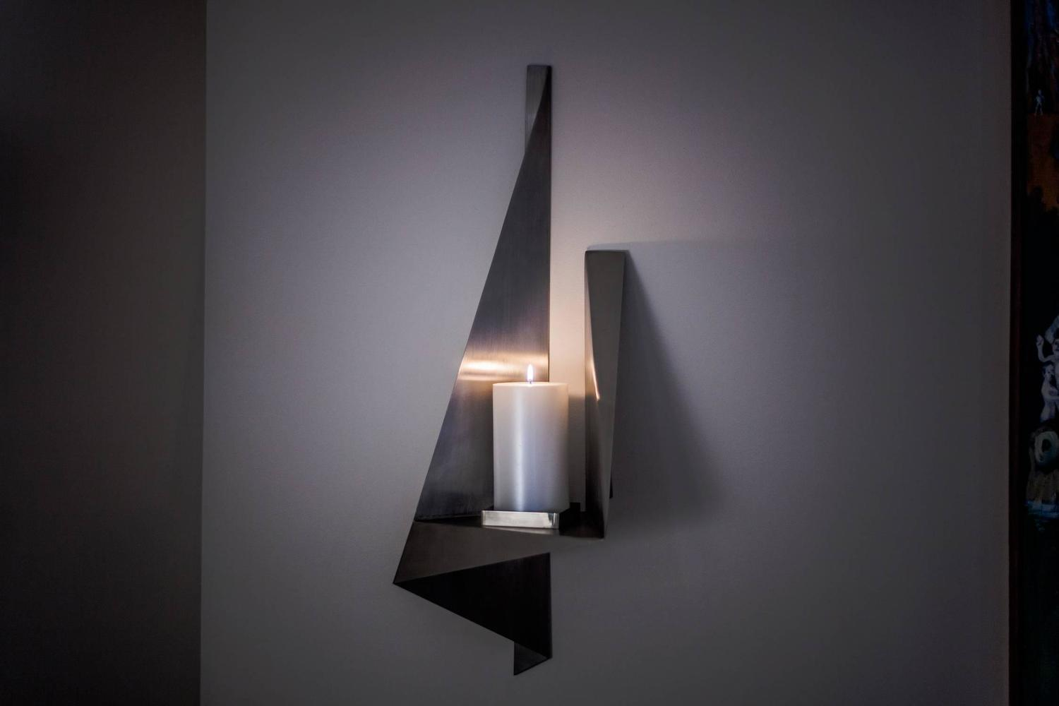 Large Candle Wall Sconce, Custom Stainless Steel, USA ... on Large Wall Sconces Candle Holders Decorative id=15001