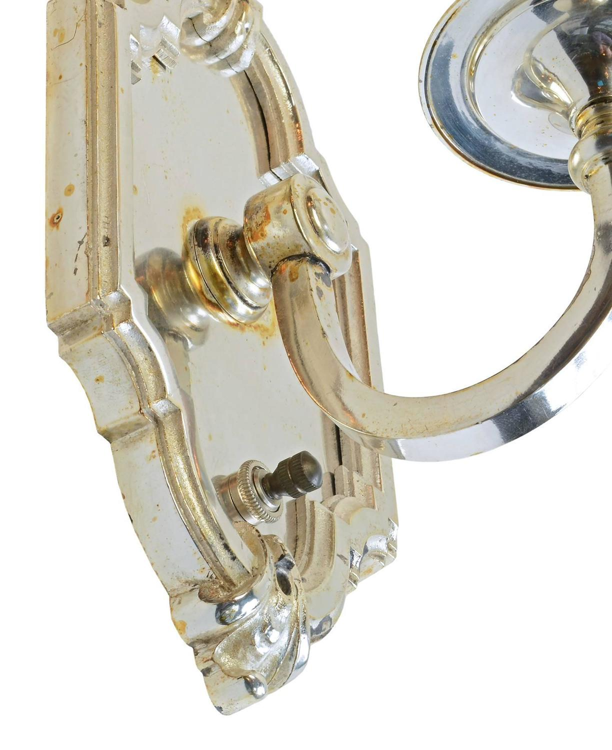 Silver Plated Single Candle Wall Sconce, circa 1915 at 1stdibs on Silver Wall Sconces For Candles id=33039
