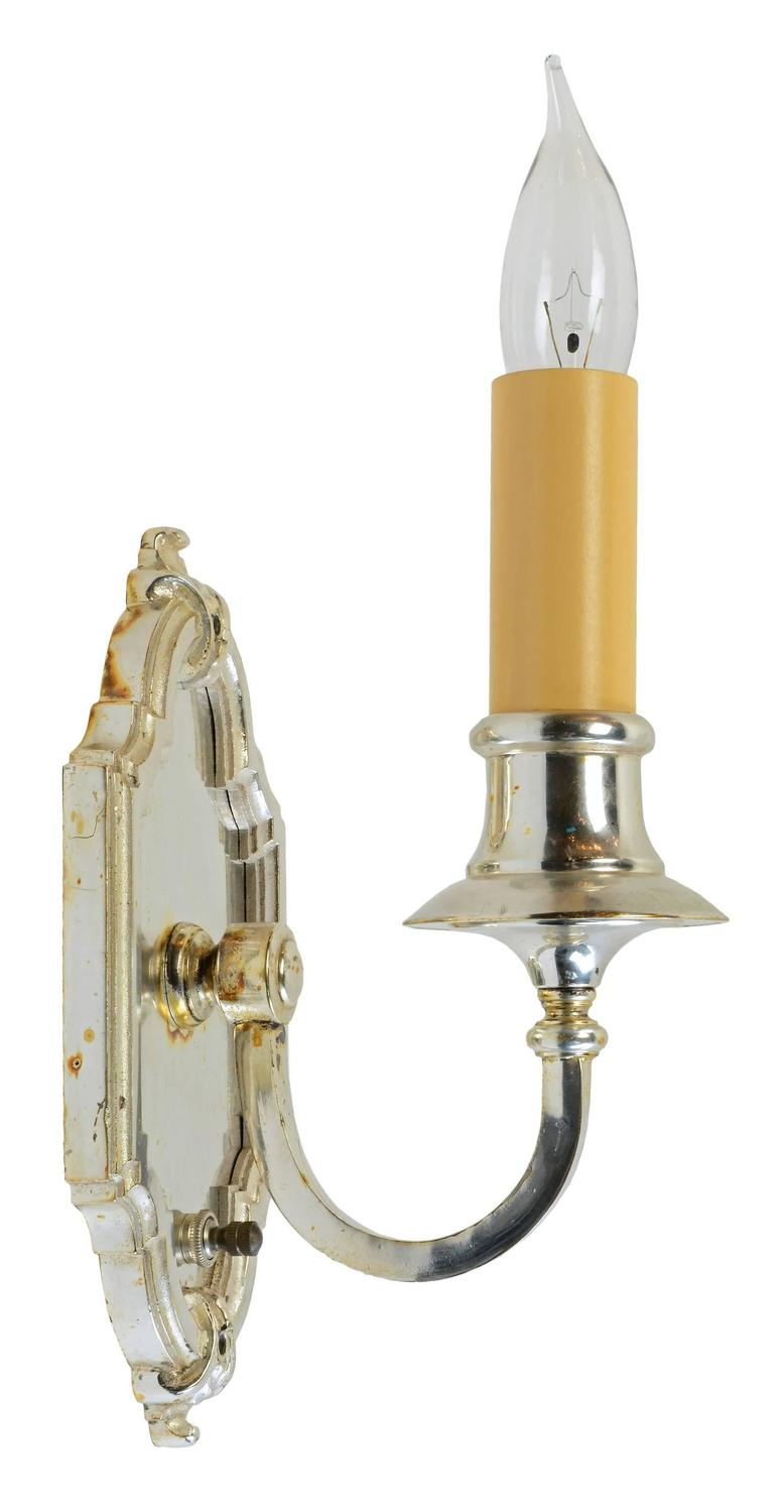Silver Plated Single Candle Wall Sconce, circa 1915 at 1stdibs on Silver Wall Sconces For Candles id=14551