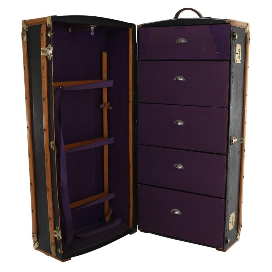 Large Antique Wardrobe Steamer Trunk from, circa 1920 at ...