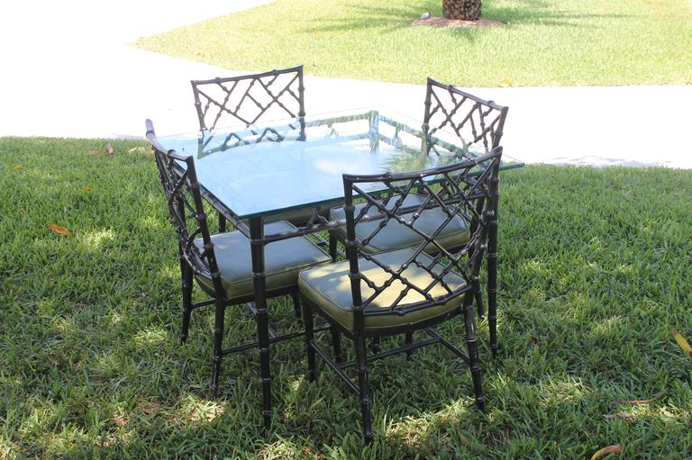 phyllis morris patio set dining chairs and table faux bamboo chinese chippendale