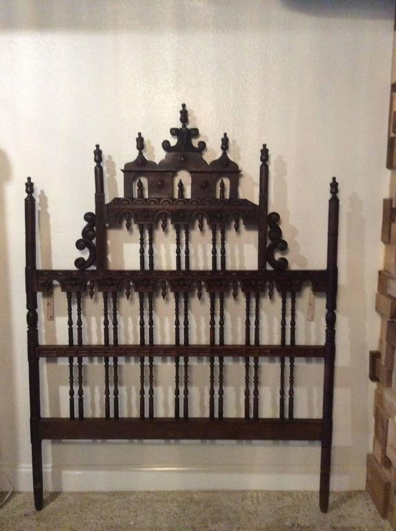 Pagoda Headboard Vintage Full Queen Ornate Spanish Spindle Wood Chinoiserie At 1stdibs