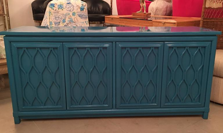Lacquered Credenza Buffet Sideboard Blue Teal Dresser