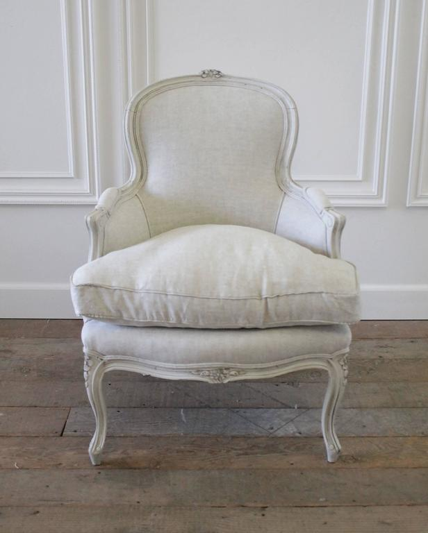 Antique Country French Painted Bergere Chair In The Louis