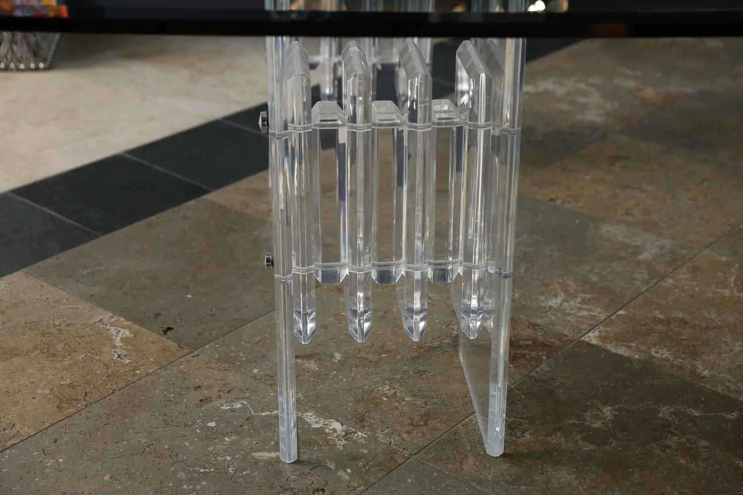 Radiator Table With Lucite Accordion Table Bases For Sale