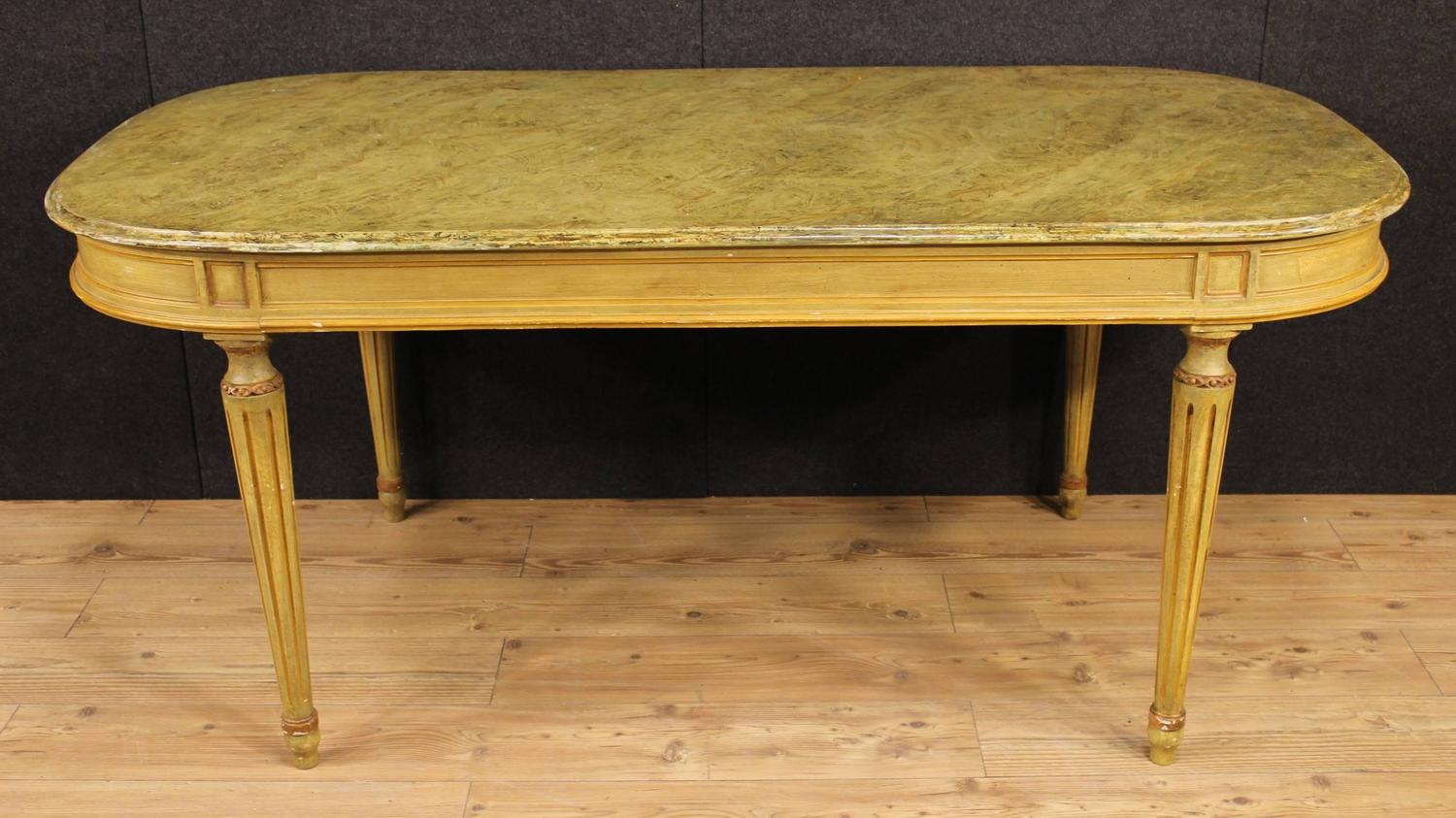 20th century lacquered and hand painted wood table for on hand painted dining room tables id=80305