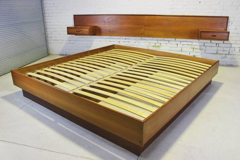 Vintage Scandinavian Modern Teak King Platform Bed With