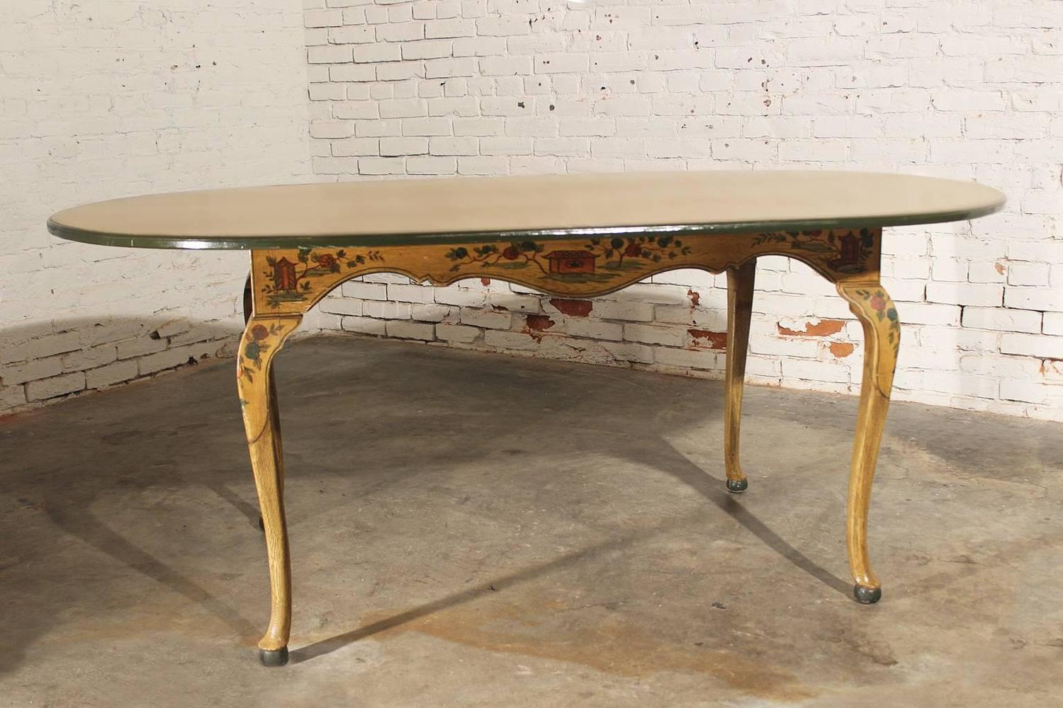 antique chinoiserie hand painted oval dining table with on hand painted dining room tables id=50108