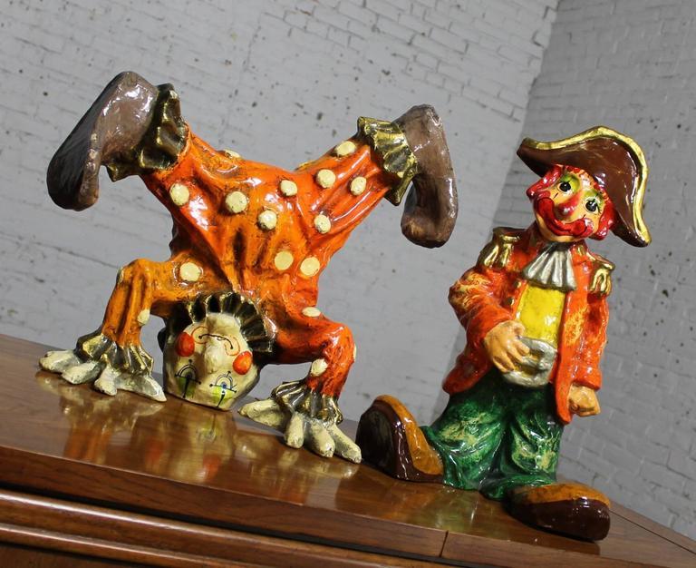 Vintage Pair Of Papier Mach Clown Sculptures By Jeanne