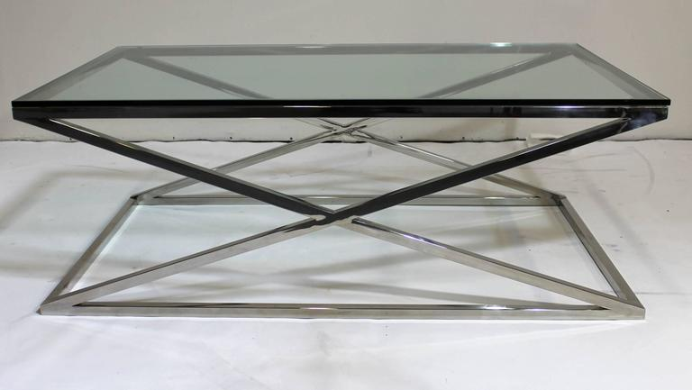 mid century modern rectangular glass coffee table chrome x base