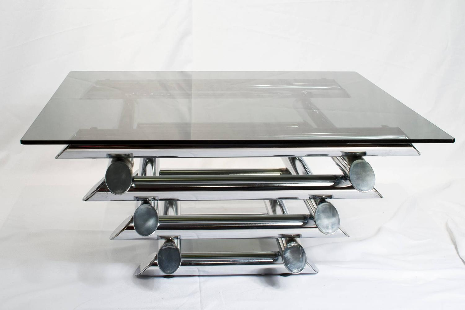 French Mid Century Modern Tubular Chrome Coffee Table