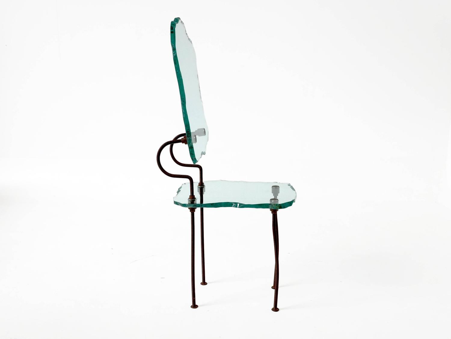 Set Of Six Brutalist Glass Dining Chairs For Sale At 1stdibs