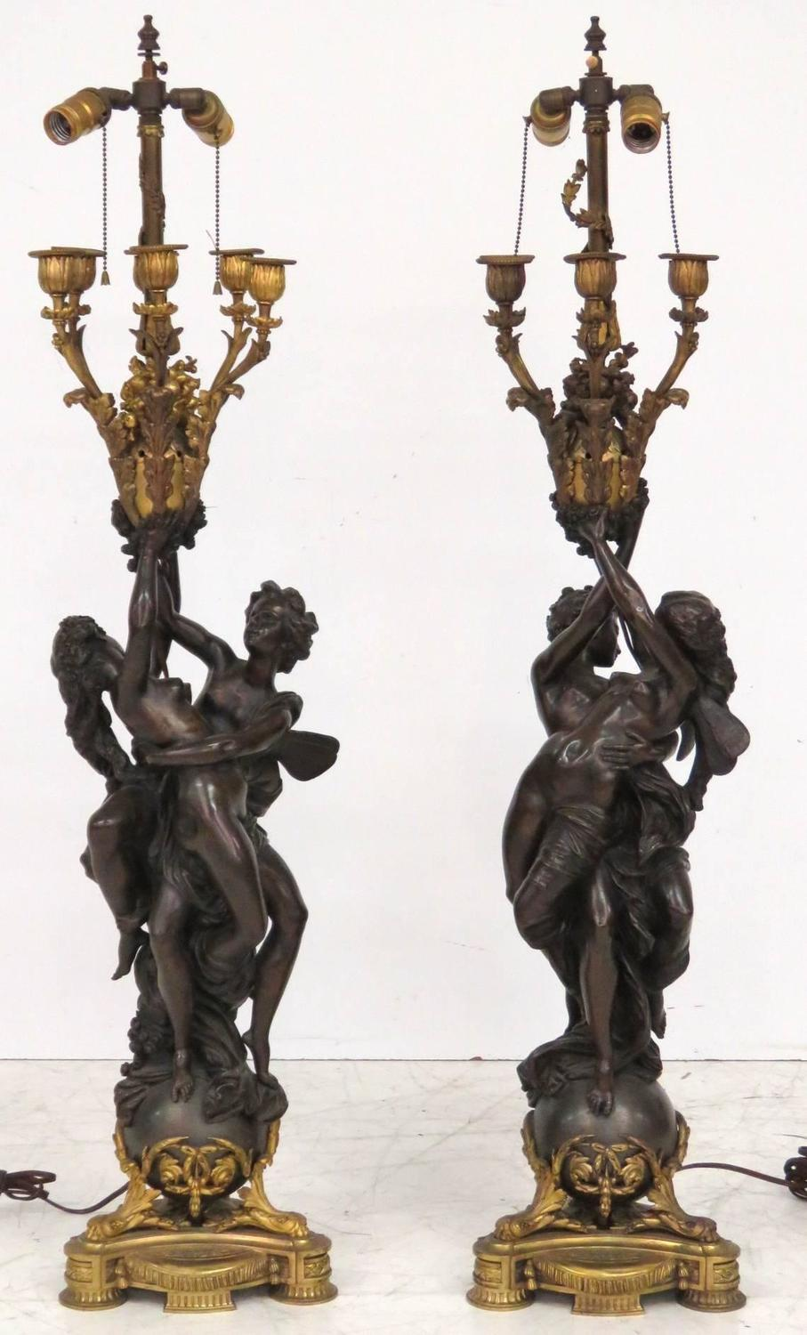 Pair Of Antique French Figural Bronze Candelabras At 1stdibs