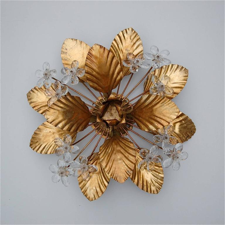 Vintage Gold Metal Floral Wall Sconce with Hand-Cut ... on Flower Wall Sconces id=41846