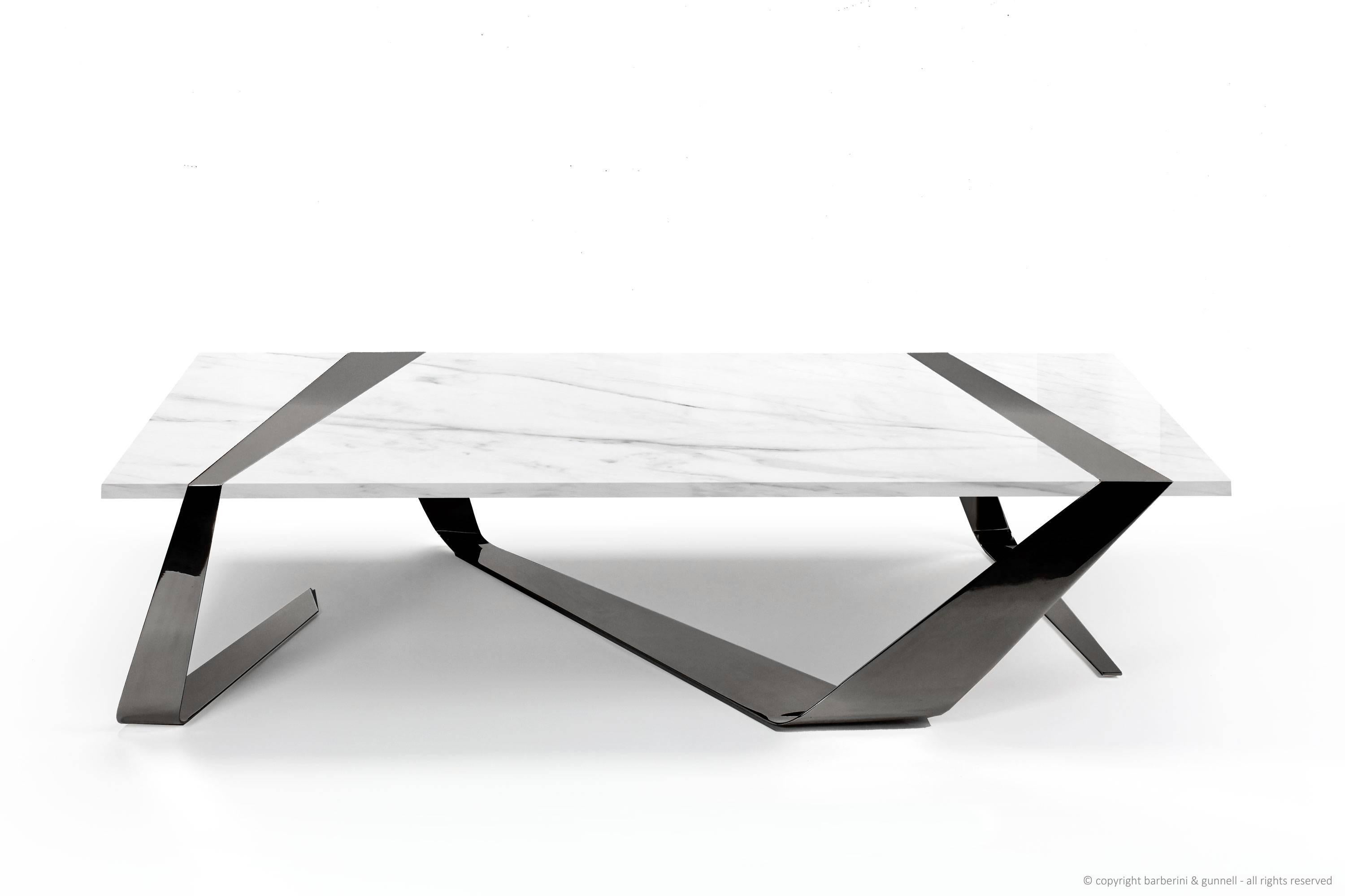 coffee table modern rectangular marble white brass italian limited edition
