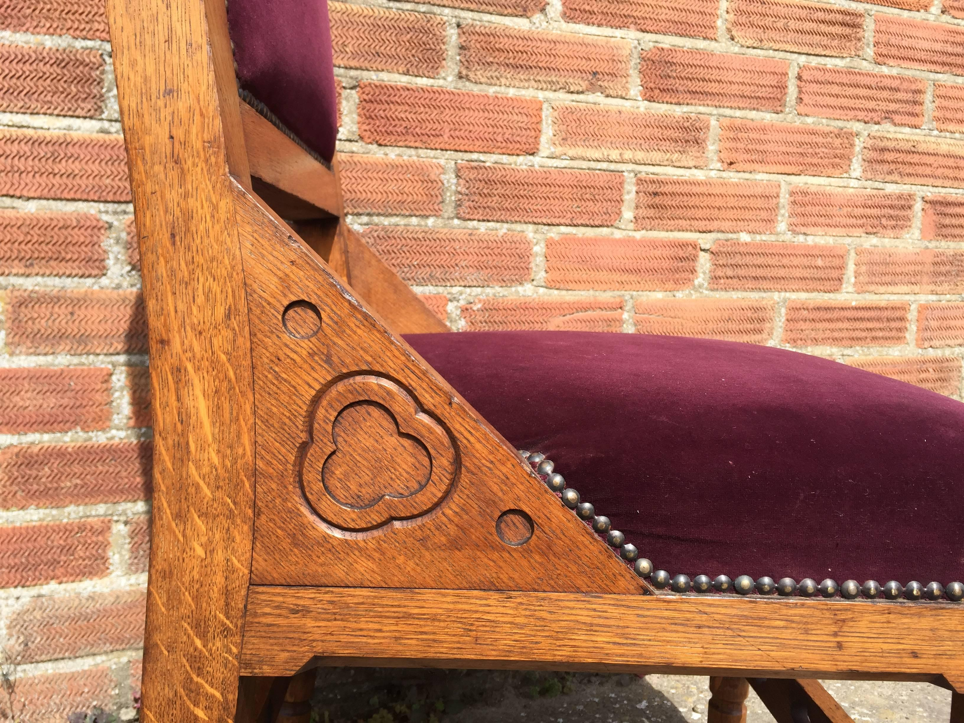 Four Interesting Gothic Revival Oak Dining Chairs In The