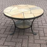 Perfect Size Midcentury Wrought Iron Base And Slate Stone Top Round Coffee Table For Sale At 1stdibs