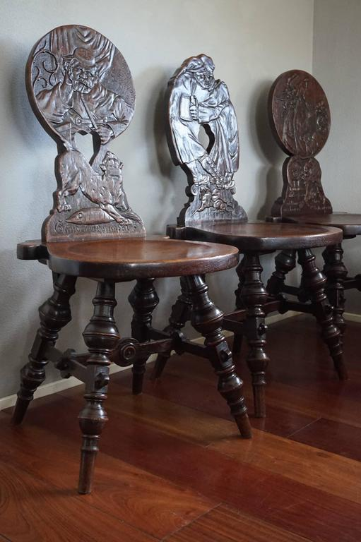 Six Antique And Hand Carved German Tavern Drinking