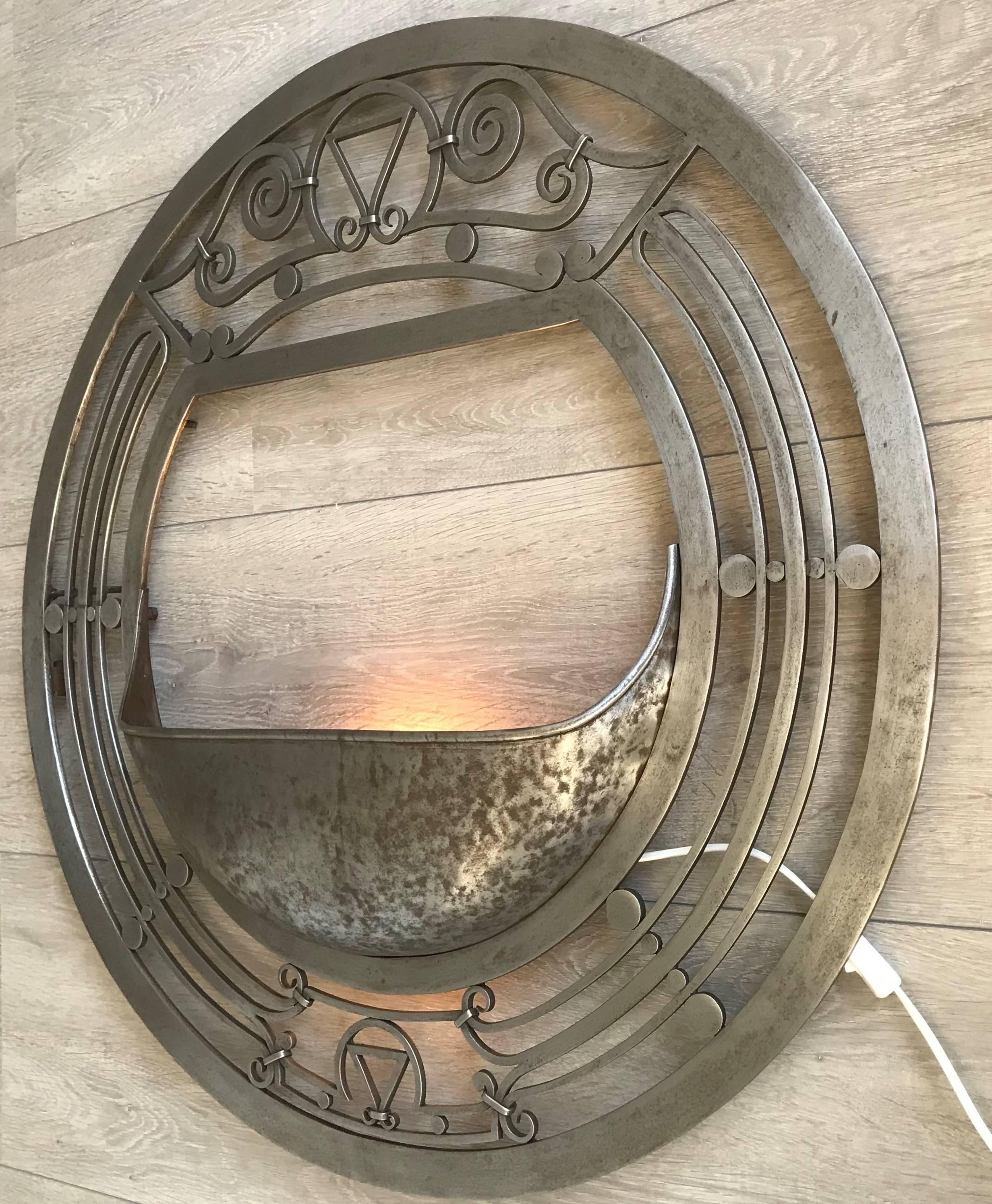 Large Arts and Crafts Polished Wrought Iron Round Wall ... on Wrought Iron Sconces Wall Lighting id=90791