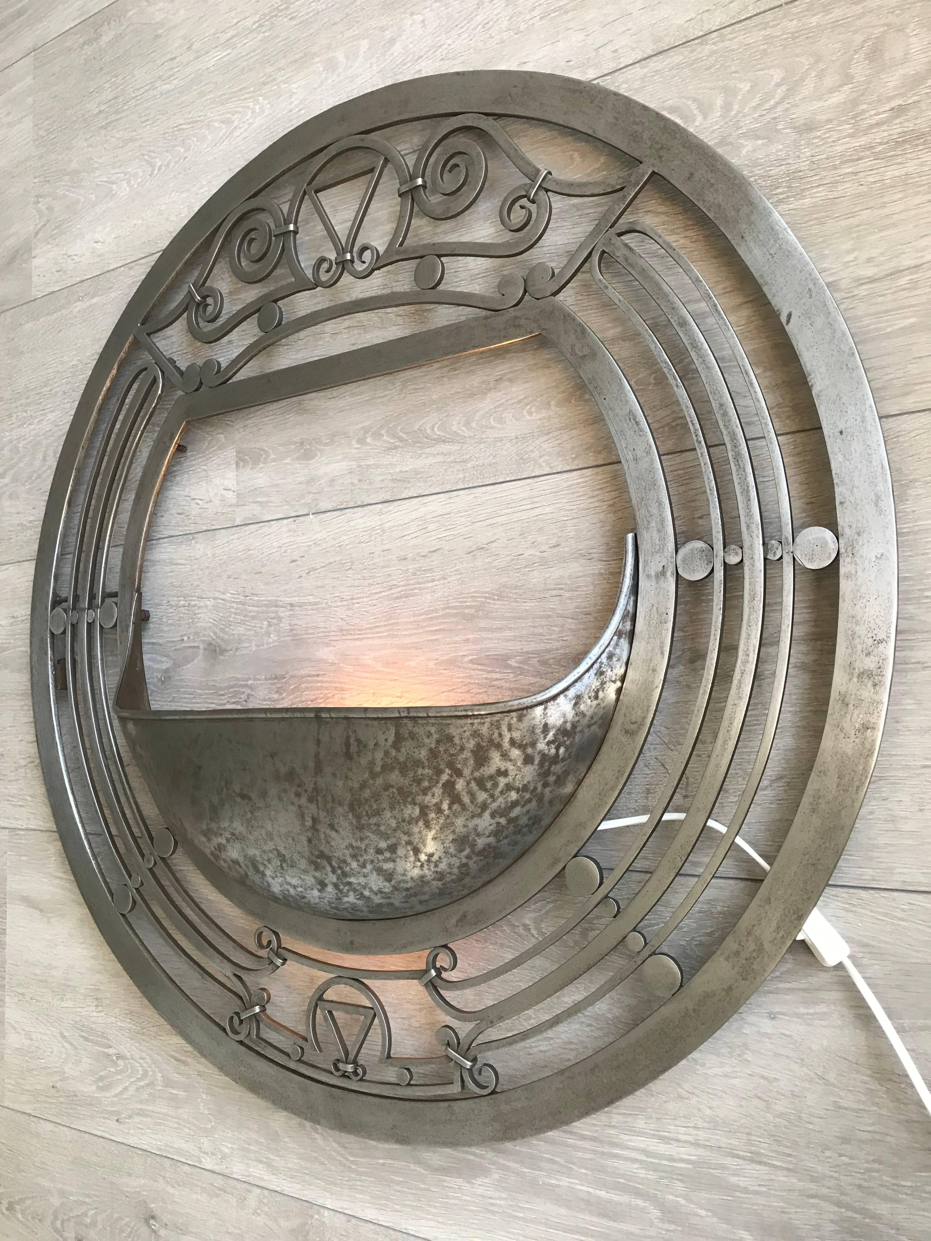 Large Arts and Crafts Polished Wrought Iron Round Wall ... on Wrought Iron Sconces Wall Lighting id=25195