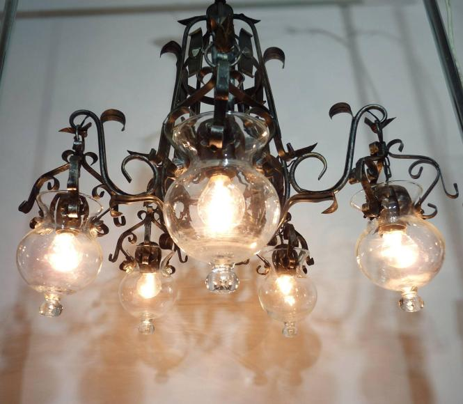 Meval Forged Iron And Tole Cage Form Chandelier With Five Hanging Light Glass Globes For