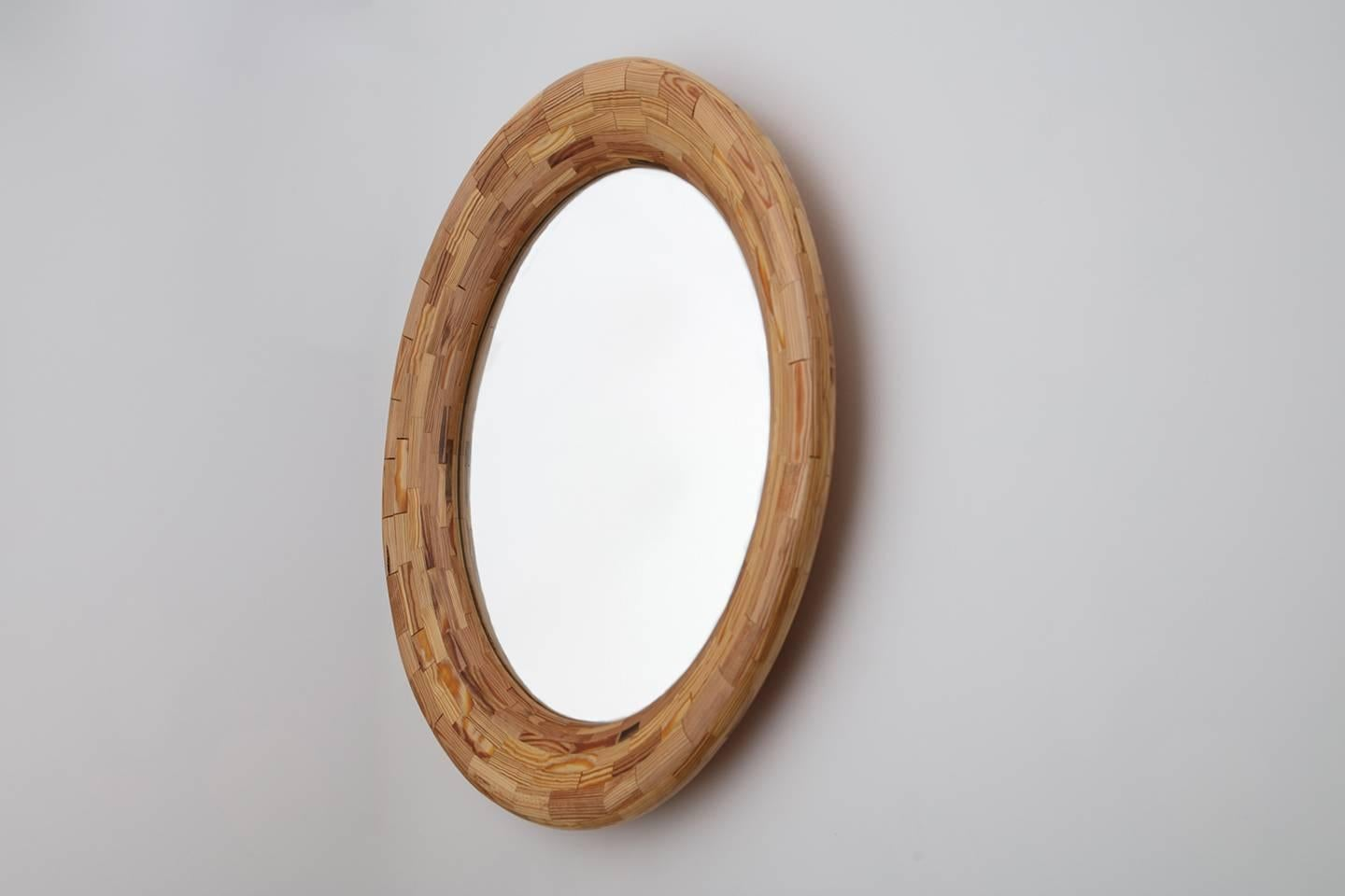 Contemporary American Round Wall Mirror, Heart Pine
