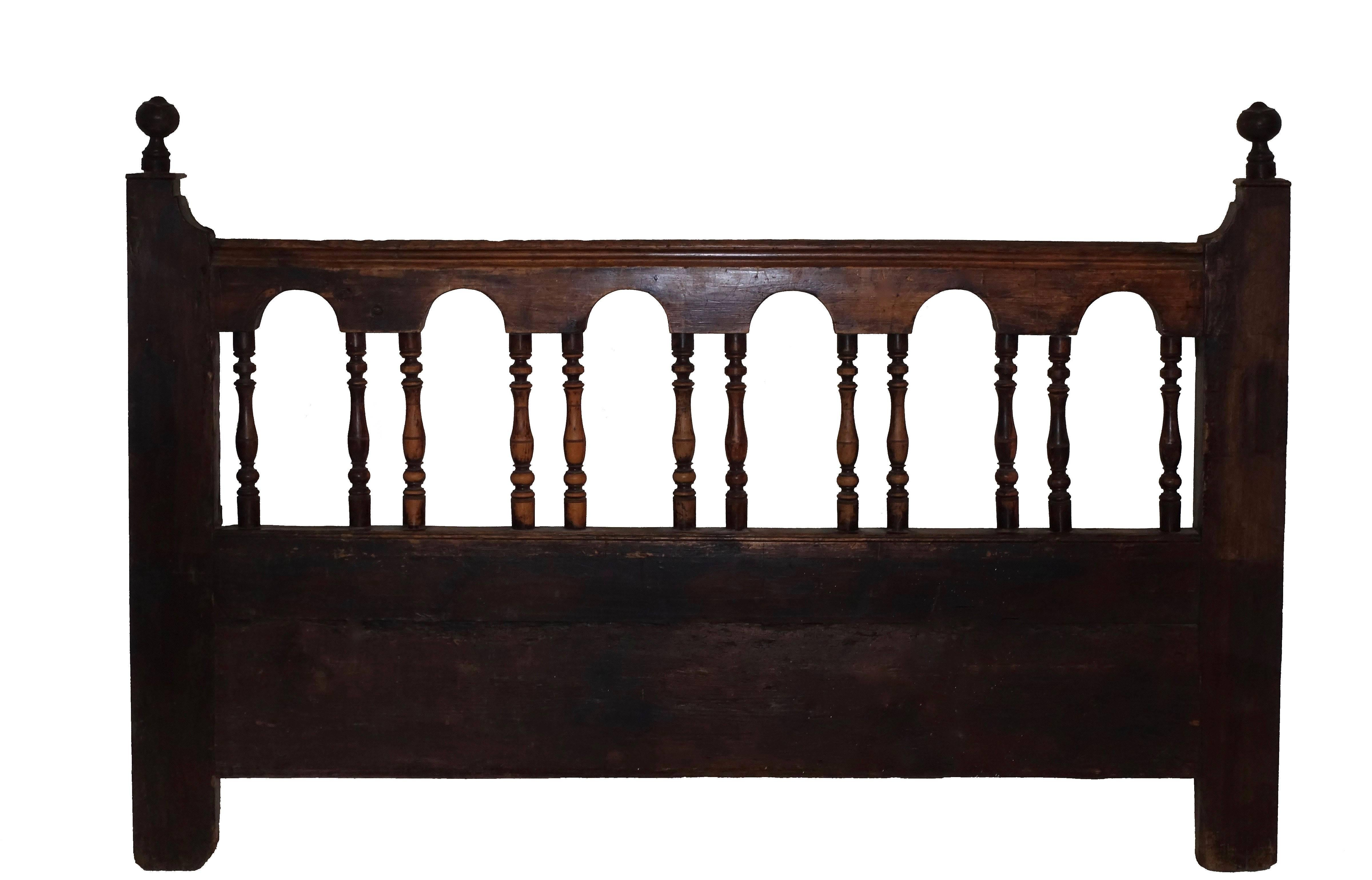 Rustic 19th Century Spanish Queen Size Headboard For Sale at 1stdibs A queen size headboard made from antique fragments of a Spanish railing   Made of pine