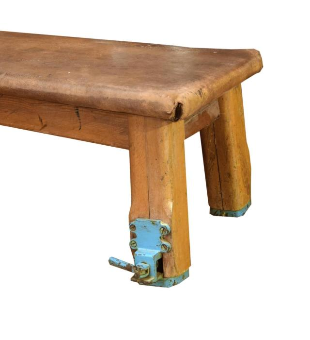 German Wood and Leather Vaulting Bench at 1stdibs