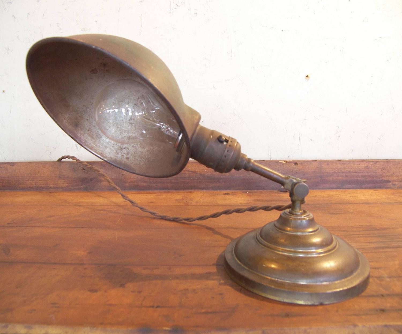Antique Vintage Industrial Adjustable Metal And Brass Desk Table Task Lamp Light For Sale At 1stdibs